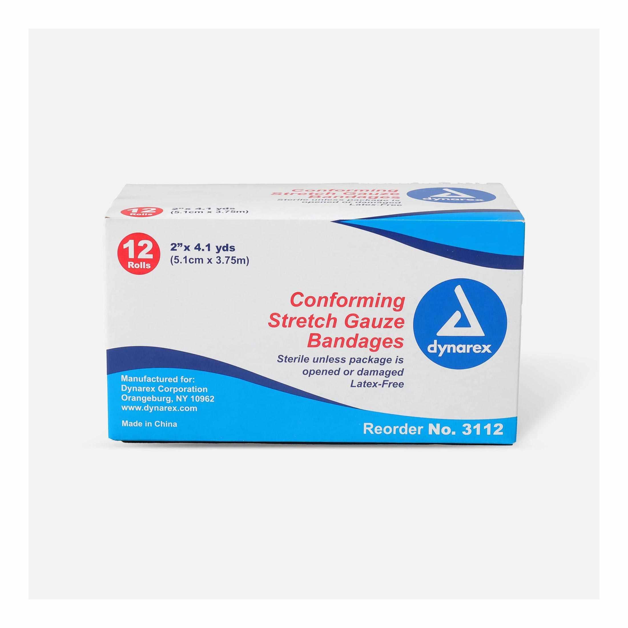 "Dynarex Self-Adhering Conforming Sterile Stretch Gauze Bandage, 2"" x 4-1/10 yards"