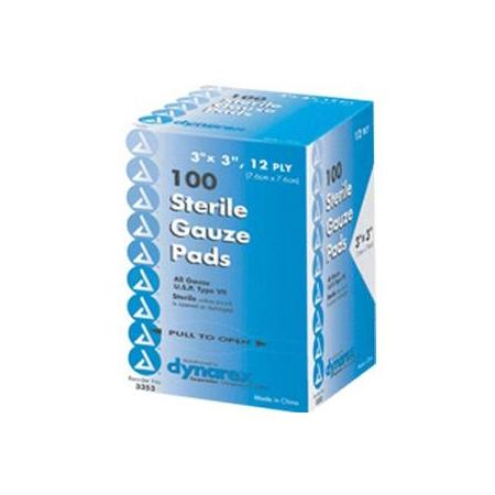 "Dynarex Self-Adhering Gauze Pad, Sterile, 3"" x 3"""