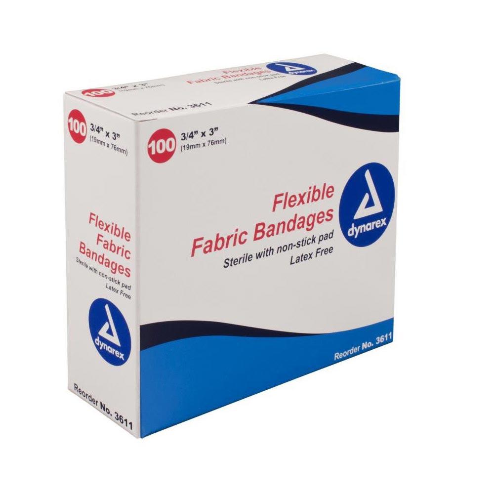 """Dynarex Flexible Fabric Adhesive Bandage 3/4"""" x 3"""""""