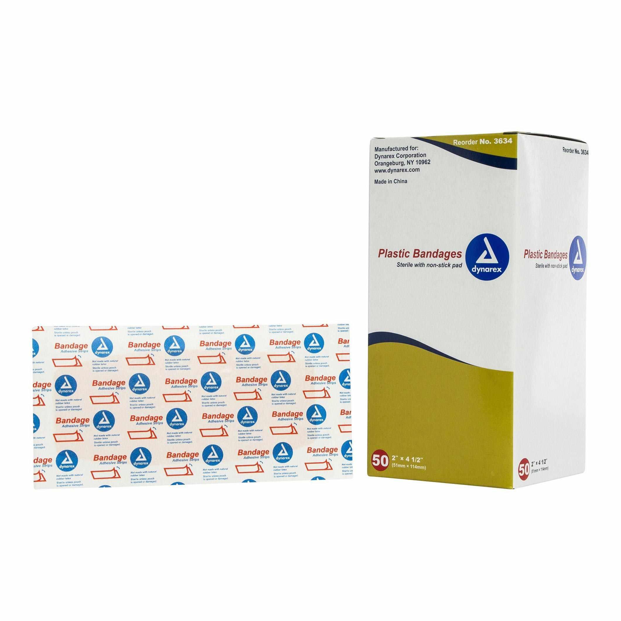 "Dynarex Adhesive Strip 2 x 4.5"" Plastic Rectangle Tan Sterile"