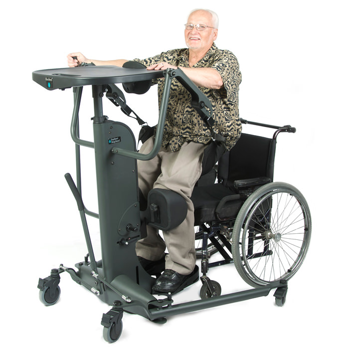 Strapstand stander with black molded tray