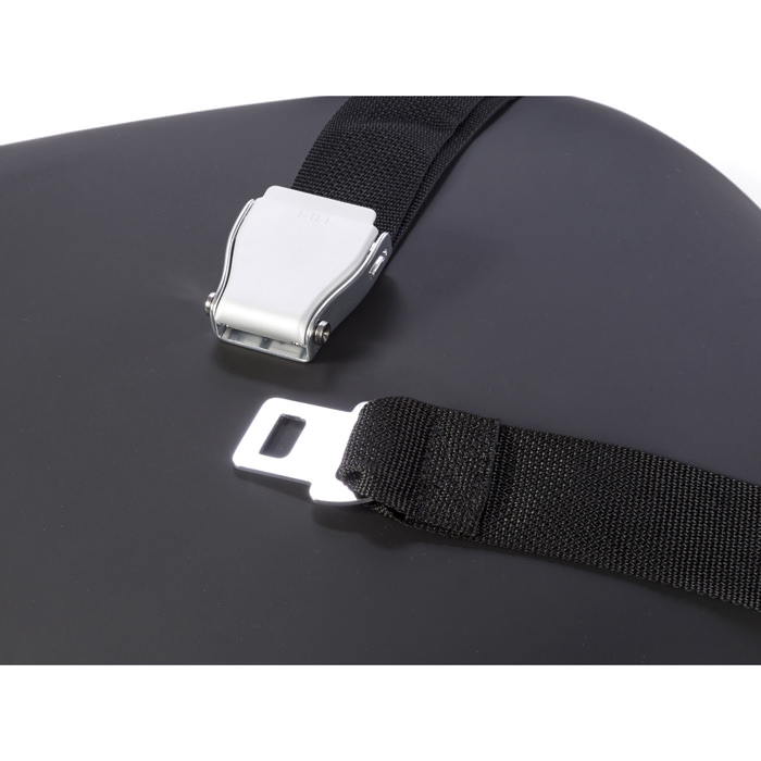 Easystand positioning belt with airline style buckle