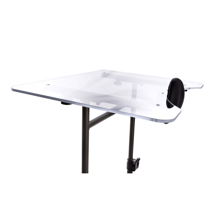 Oversized clear tray for swing-away for evolv standers