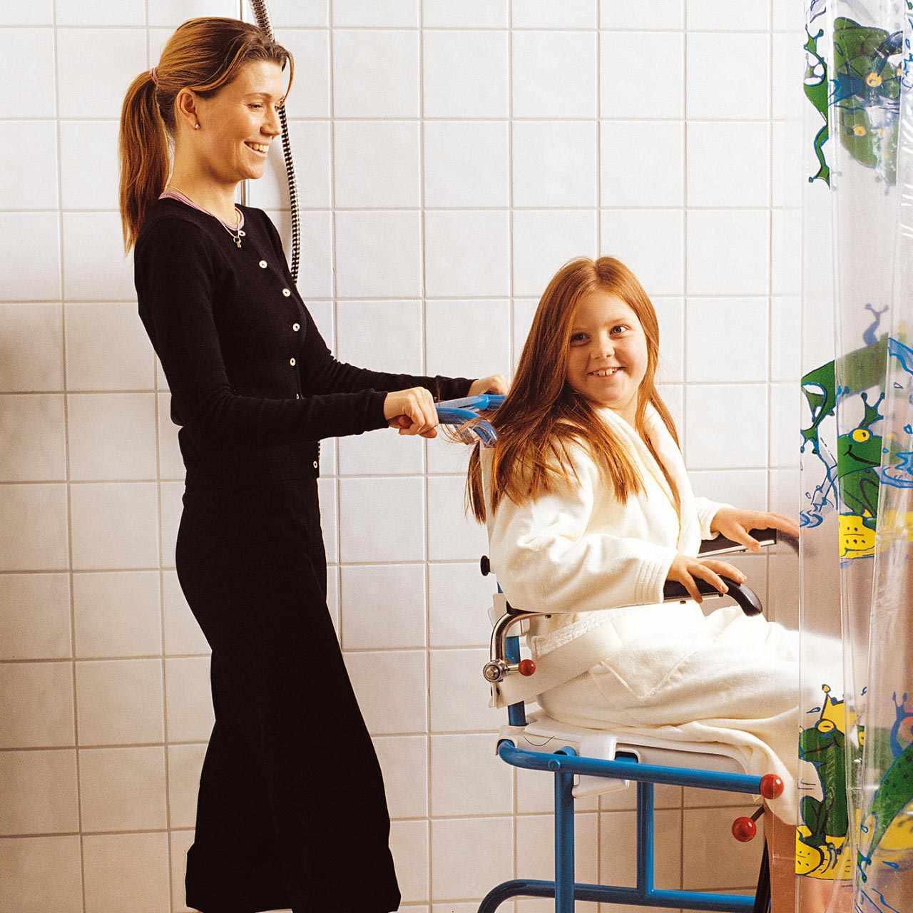 Tripp tiltable shower commode chair
