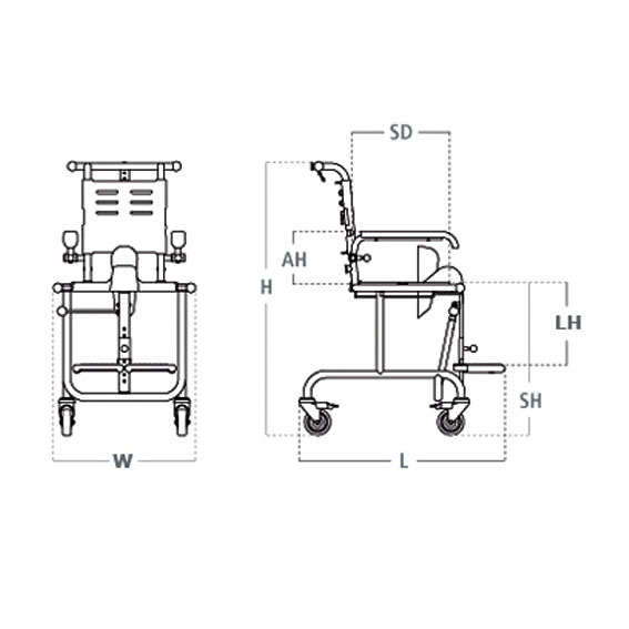 Etac Tripp shower chair dimensions