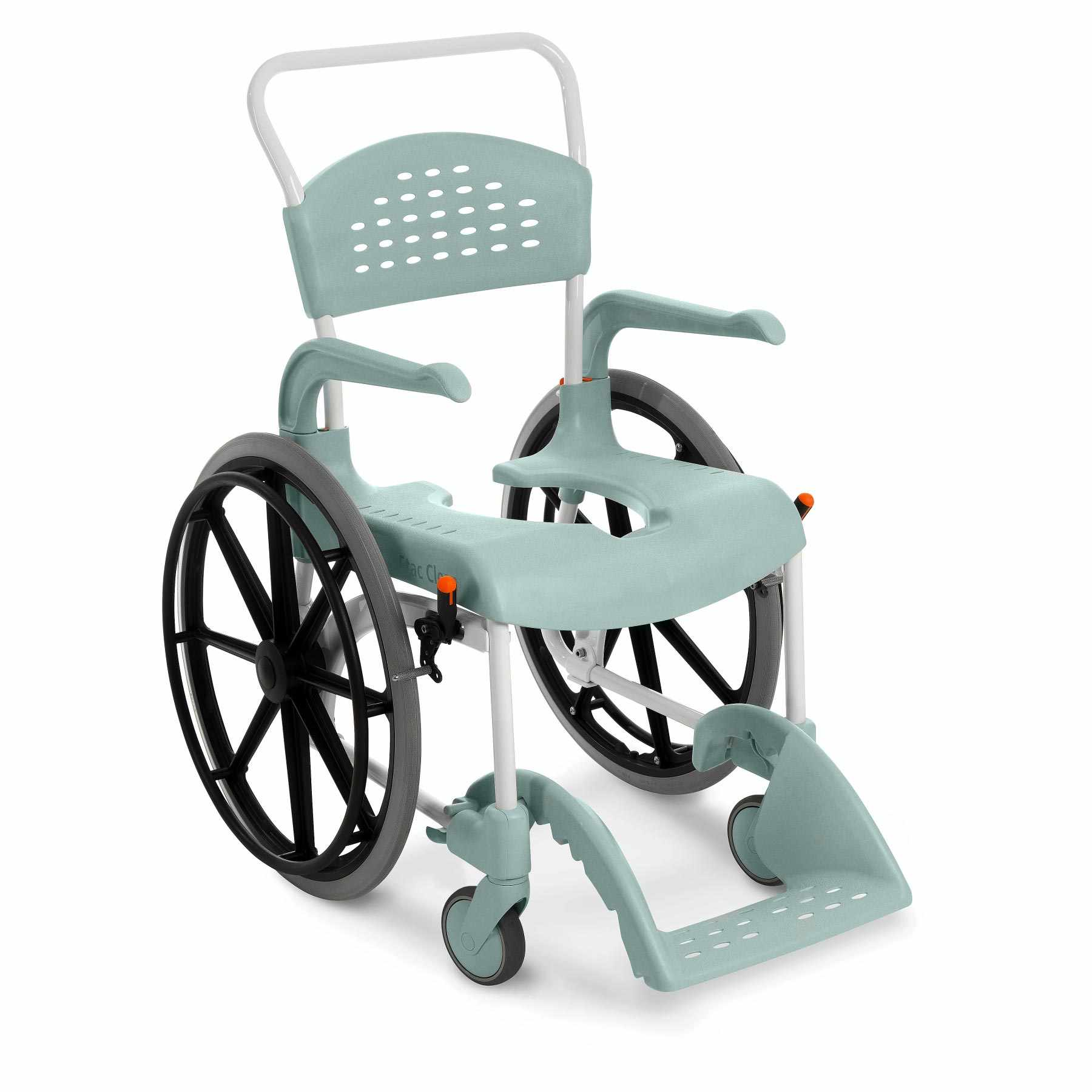 "Etac Clean 22"" mobile shower commode chair with 24"" Rear Wheels"