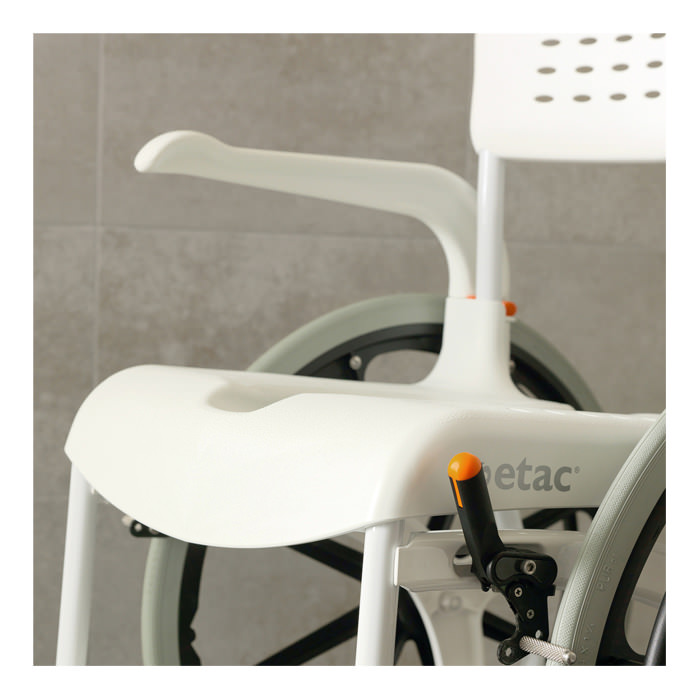 "Etac Clean 22"" commode chair with 24"" rear wheels"