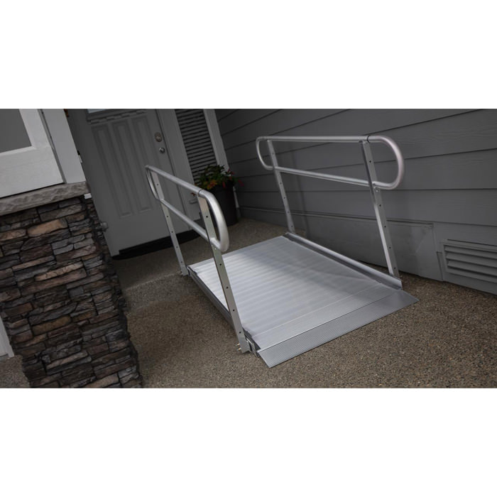 EZ Access gateway 3G solid surface ramp with two line handrail