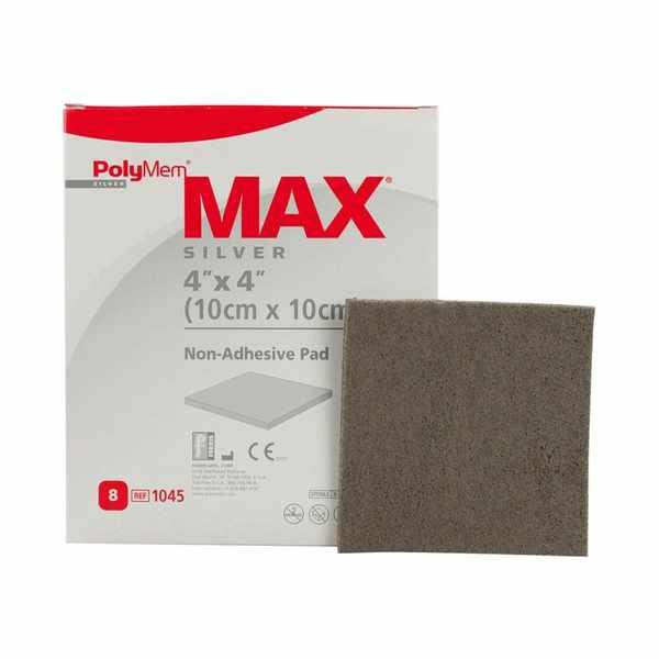 "PolyMem Max Silver Non-Adhesive Pad Dressing 4"" x 4"""