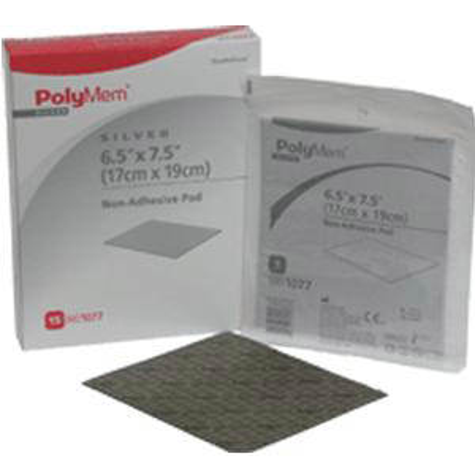 "PolyMem Non-Adhesive Pad Dressing with Nano-Crystalline Silver 6-1/2"" x 7-1/2"""