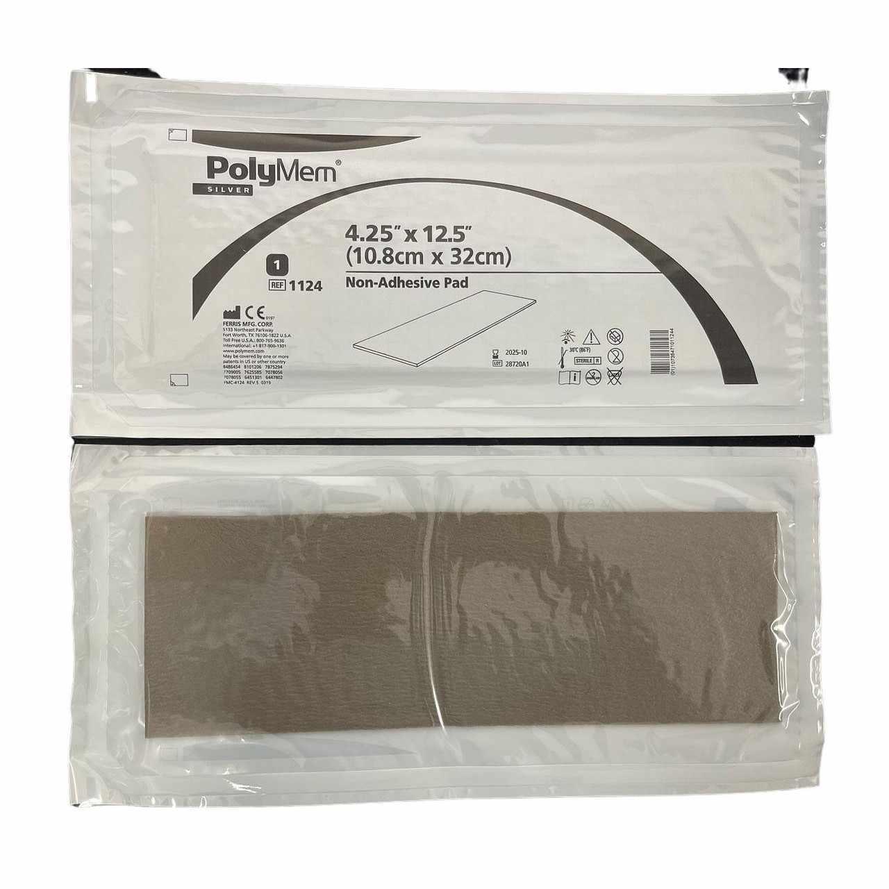 Ferris PolyMem Silver Non-Adhesive Pad Dressing, 4.25 Inch x 12.5 Inch
