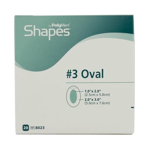 "PolyMem Shapes #3 QuadraFoam Dressing without Silver 2"" x 3"" Oval with 1"" x 2"" Pad"