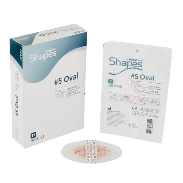 "PolyMem Shapes #5 QuadraFoam Dressing without Silver 5"" x 3-1/2"" Oval with 3"" x 2"" Pad"