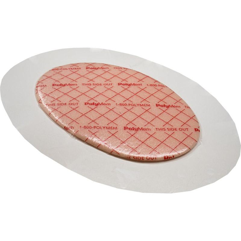 "PolyMem Shapes #8 QuadraFoam Dressing 6-1/2"" x 8-1/5"" Oval with 4"" x 5-5/7"" Pad"