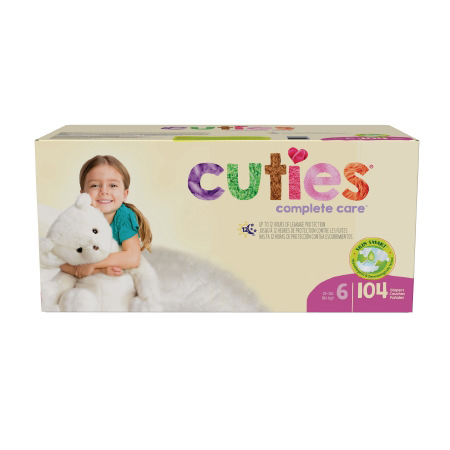 First Quality Cuties Heavy Absorbency Disposable Diaper, Size 6