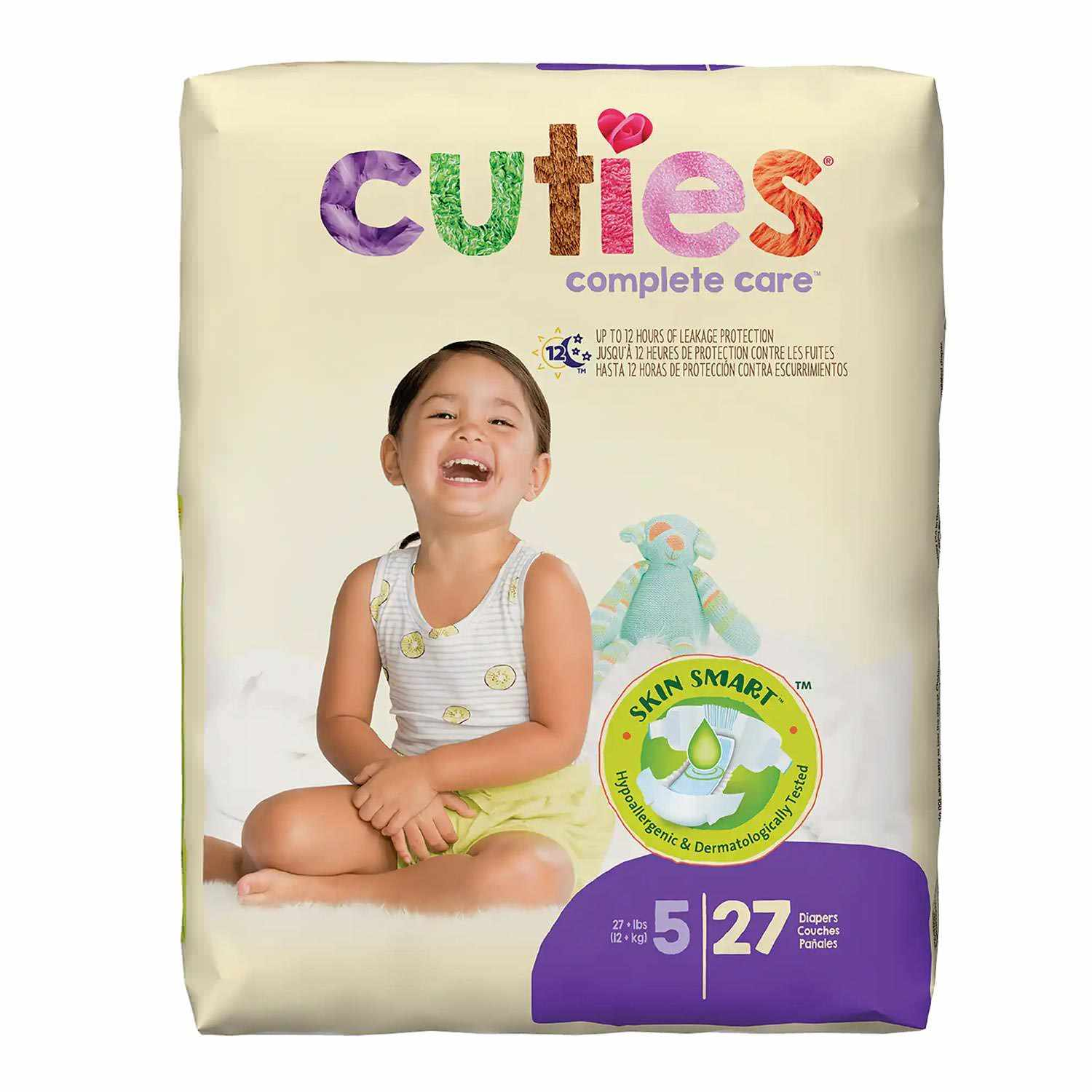 Cuties Heavy Absorbency Baby Diaper, Tab Closure, Size 5, Disposable