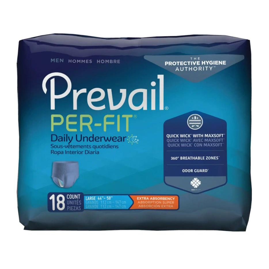 """Prevail Per-Fit Men's Protective Underwear, Large (44"""" to 58"""")"""