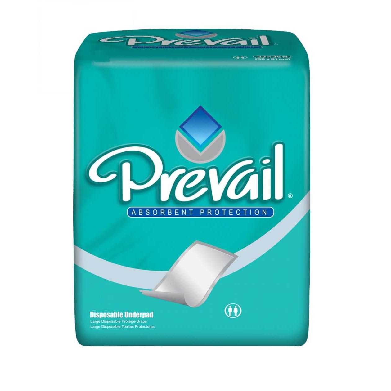 """PrevailAir Permeable Disposable Underpads, Blue, Latex-Free, 23""""x 36"""""""