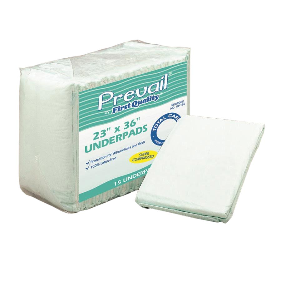 """Prevail fluff disposable underpads 23"""" x 36"""""""