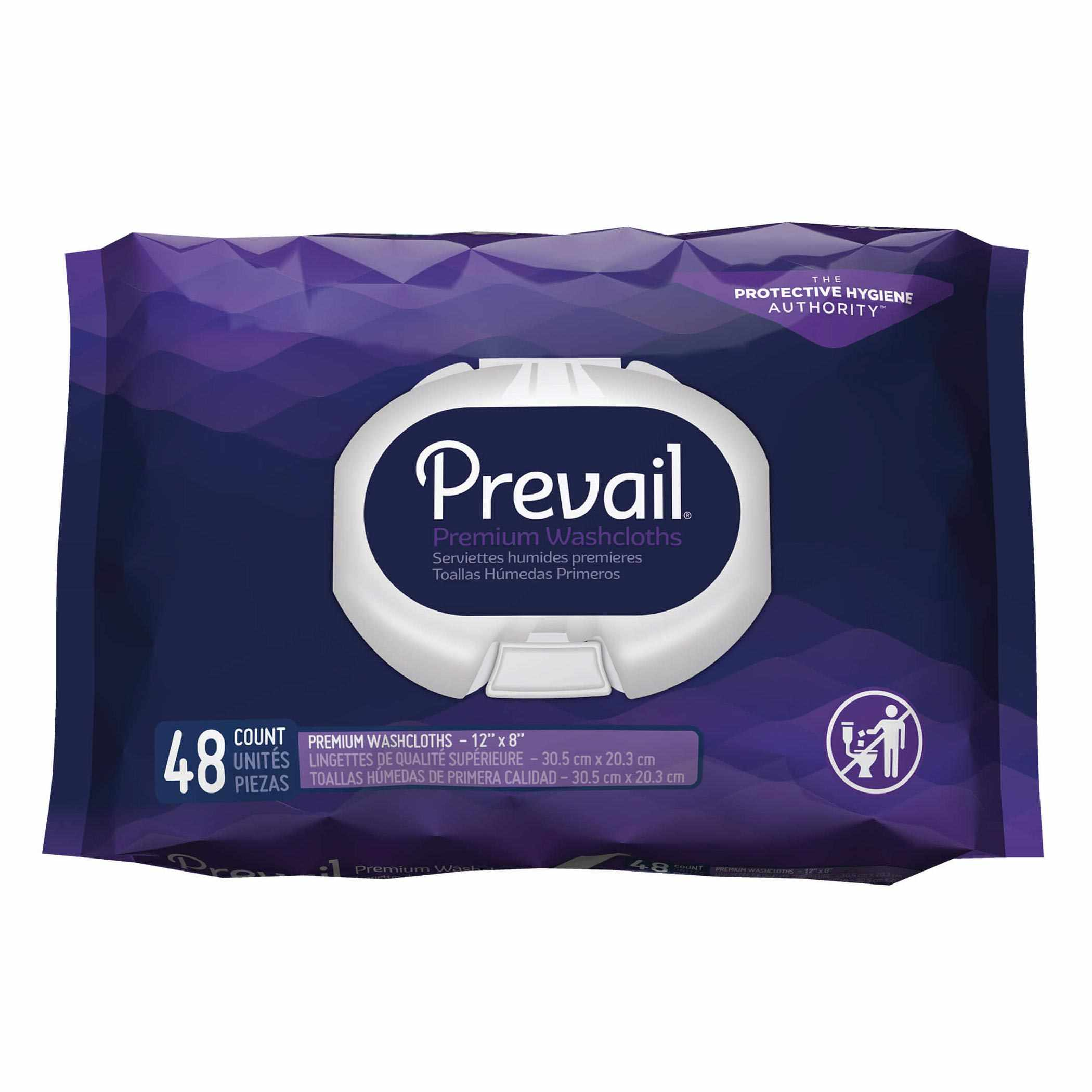 "Prevail premium cotton washcloth soft pak 12"" x 8"""