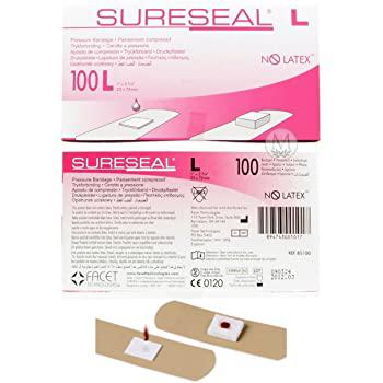 Sureseal Adhesive Pressure Bandage, Tan, 1 x 2-3/4 Inch, Sterile