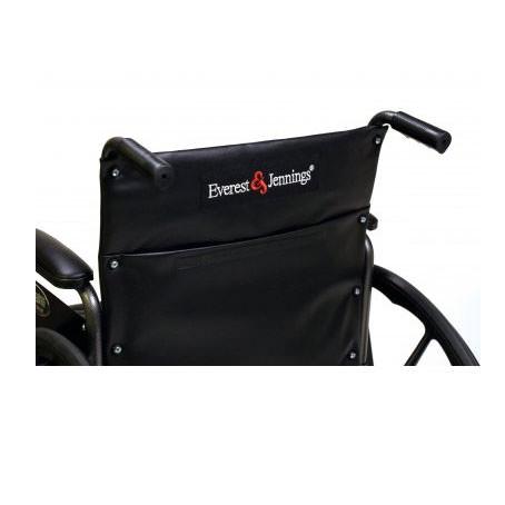 Black vinyl upholstery with pocket on back