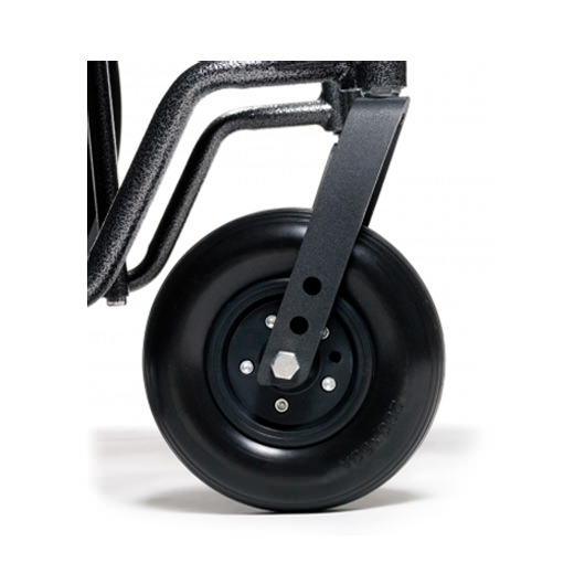 Two-position axle and caster fork for Traveler HD wheelchair