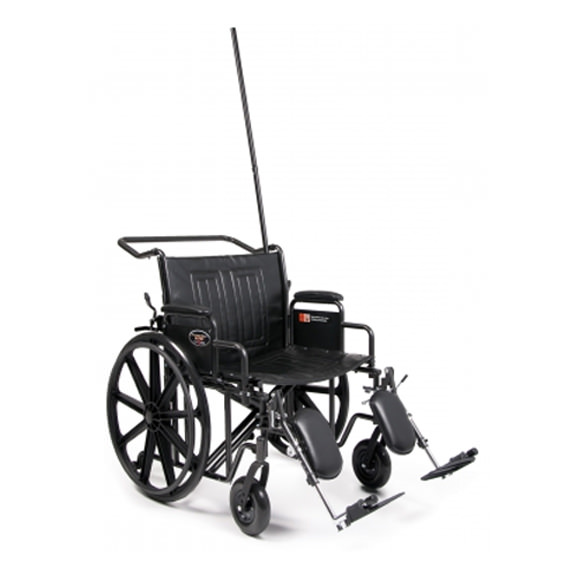 Everest & Jennings Traveler HTC heavy duty wheelchair with IV Pole