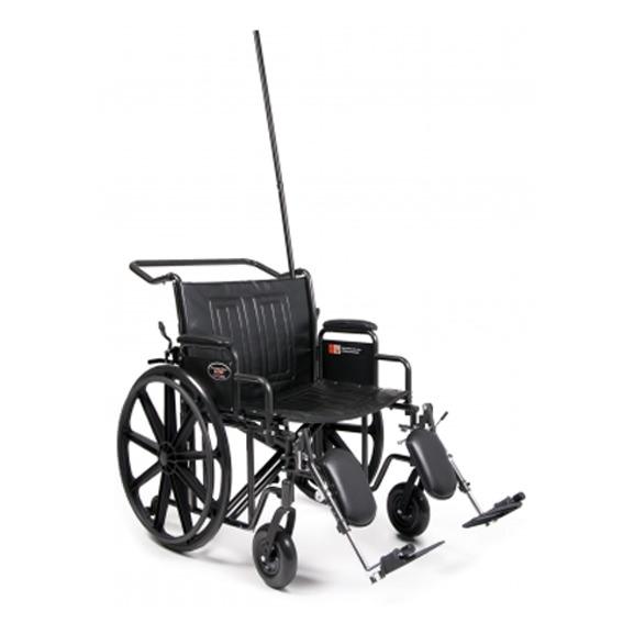 Everest & Jennings Traveler HTC heavy duty wheelchair with IV Pole