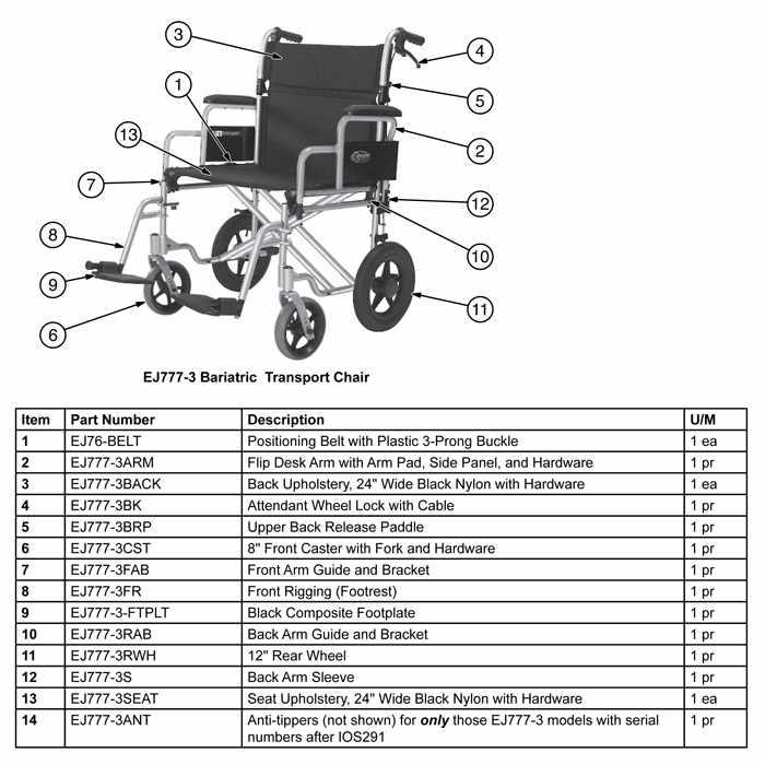 Everest & Jennings Bariatric Aluminum Transport Chair