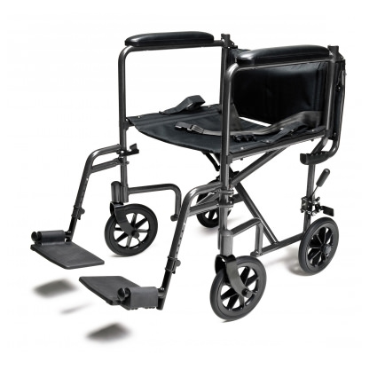 Everest & Jennings steel transport chair with positioning belt