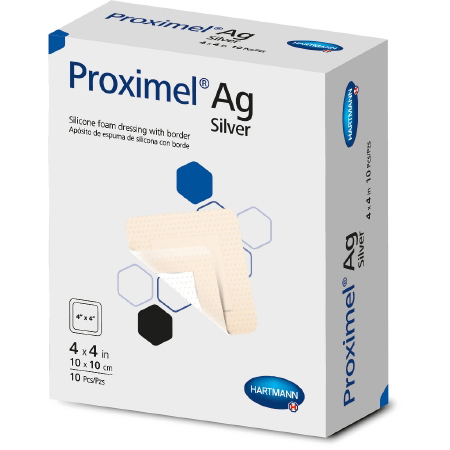 "Hartmann-Conco Proximel Ag Silicone Foam Dressing with Border, 4 x 12"""