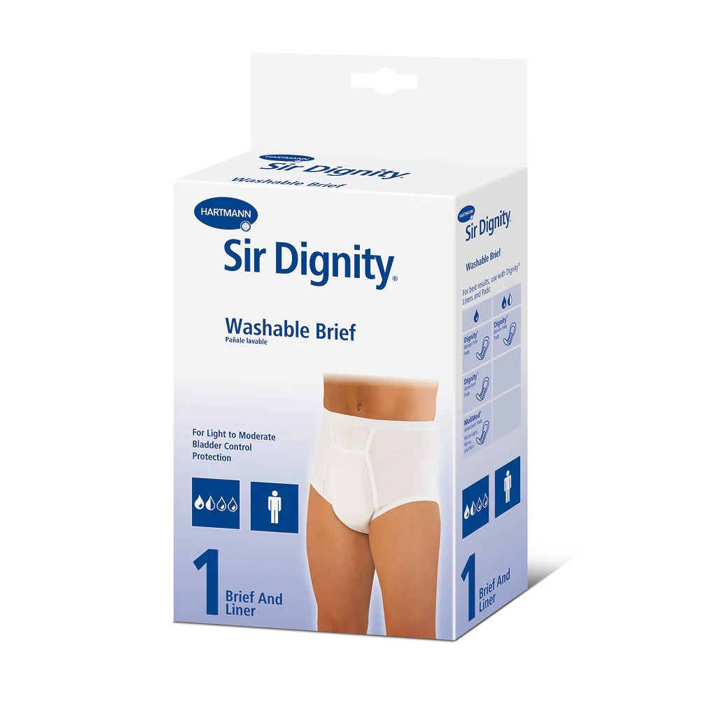"""Sir Dignity Washable Brief with Built-in Protective Pouch, Medium 34"""" to 36"""""""