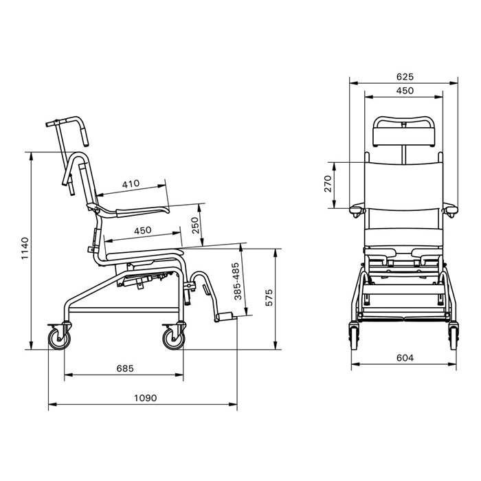Handicare Tilting Commode Shower Chair - Specifications