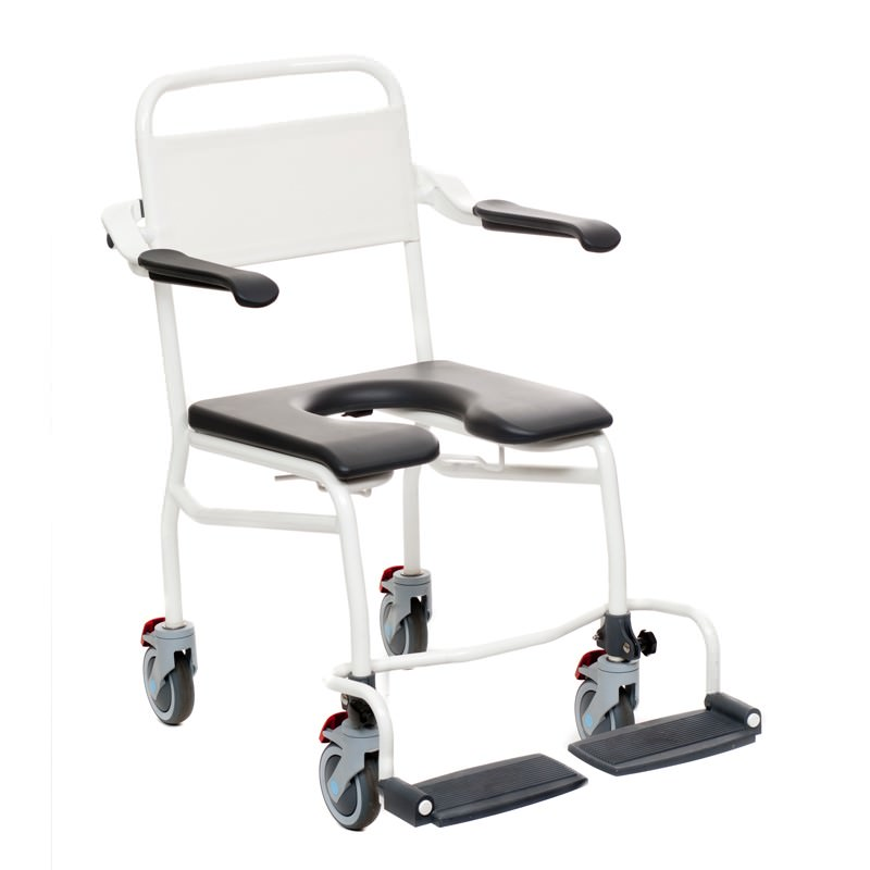 Handicare Mobile Commode/Shower Chair With Footrests