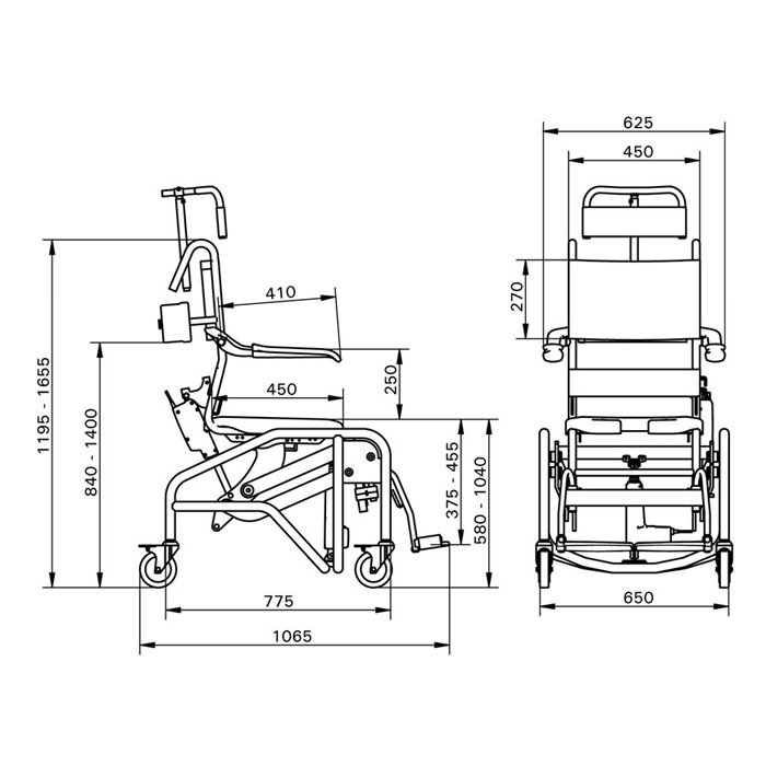 Handicare Manual Tilting Shower Commode Chair - Dimensions