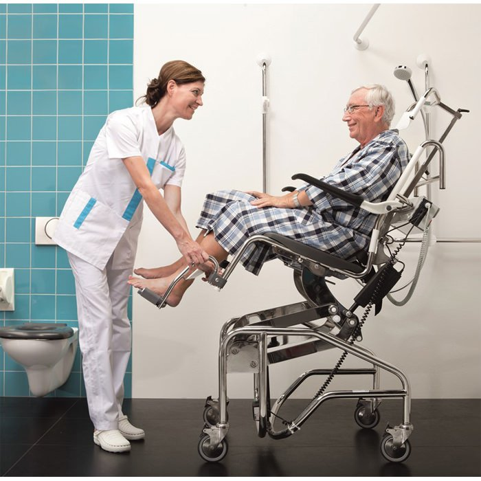 Handicare Height Adjustable Manual Tilting Shower Commode Chair