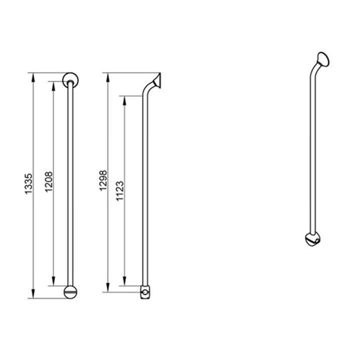 Linido Corner and Combination Grab Rail - Dimensions