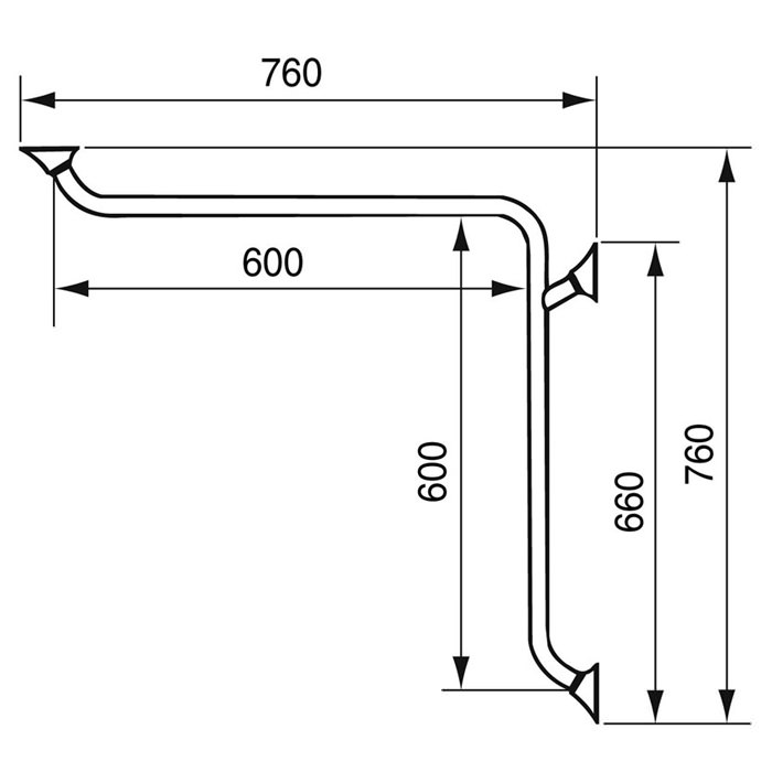 Handicare Corner and Combination Grab Rail - Dimensions