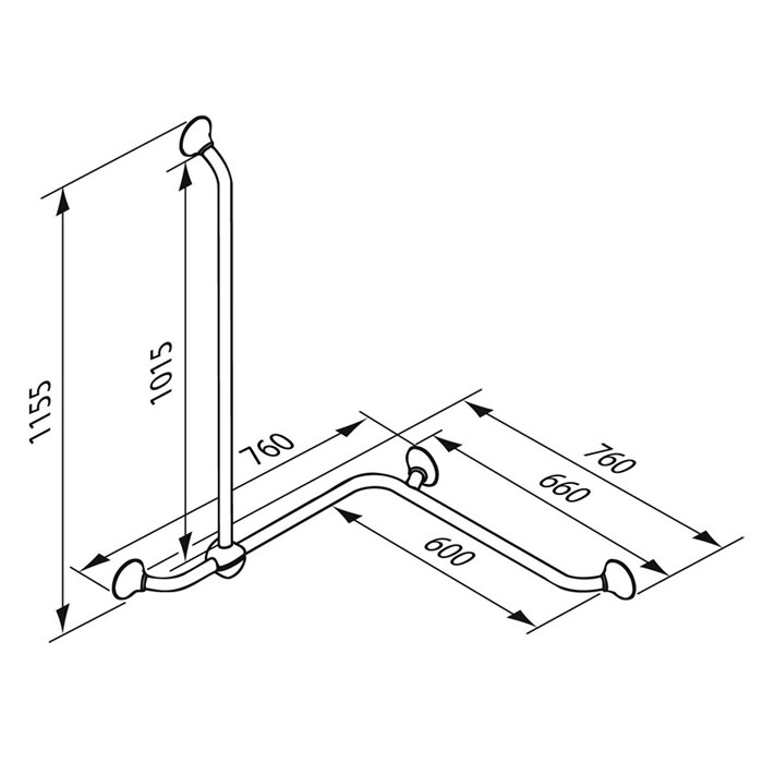 Ergogrip Corner and Combination Grab Rail - Dimensions