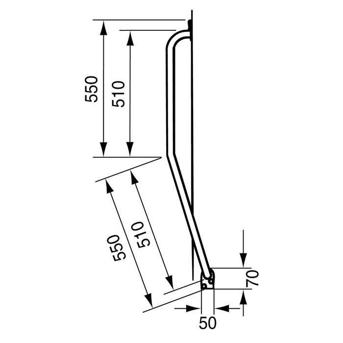 Handicare Linido Stair Newel Grab Rail - Dimensions