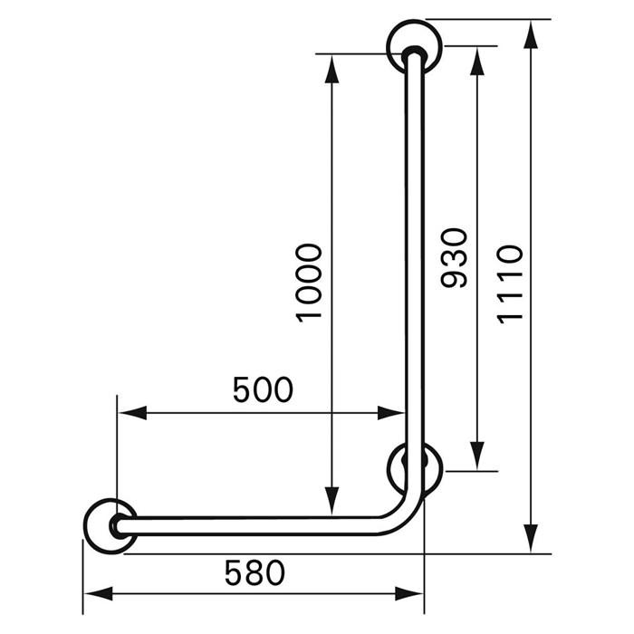 Handicare Angled Grab Rail (Ergogrip 90) - Dimensions
