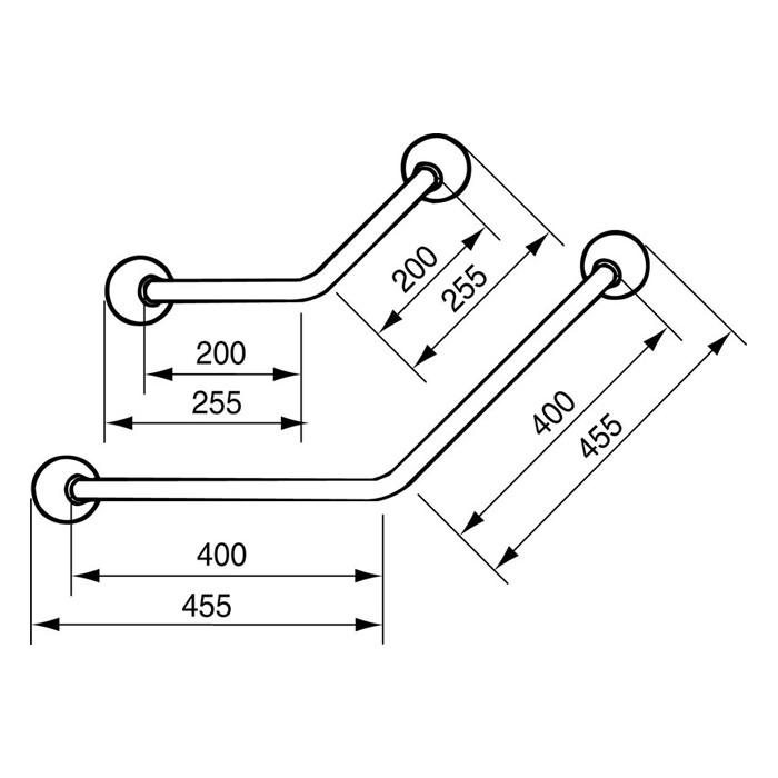 Handicare Angled Grab Rail (Ergogrip 45) - Dimensions