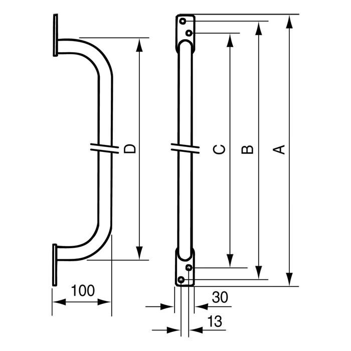 Handicare Linido Door Frame Grab Rail - Dimensions