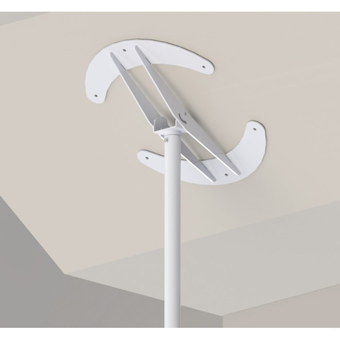 Superpole stand assist system with angled ceiling plate