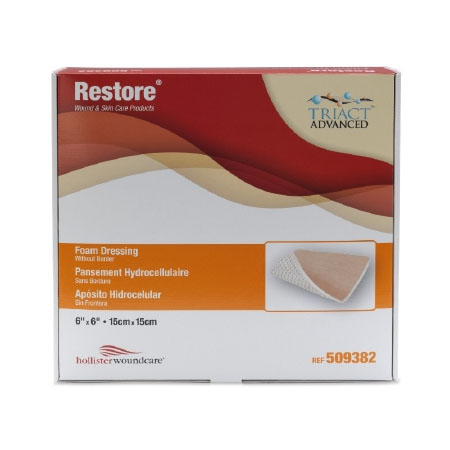 "Hollister restore foam dressing without border 6"" x 6"""
