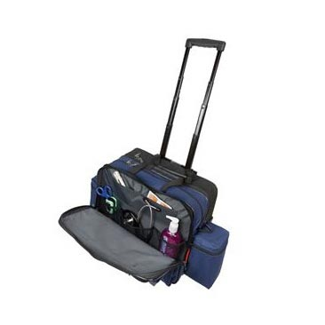 """Hopkins Rolling Medical Bag with EZ View Features, 16"""" x 12"""" x 9"""", Navy"""