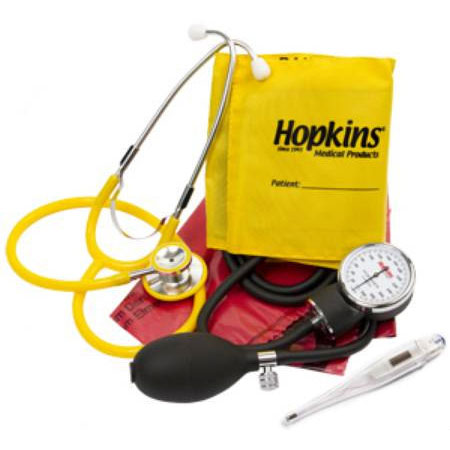 Hopkins Disposable Arm Blood Pressure w Stethoscope Kit, Yellow