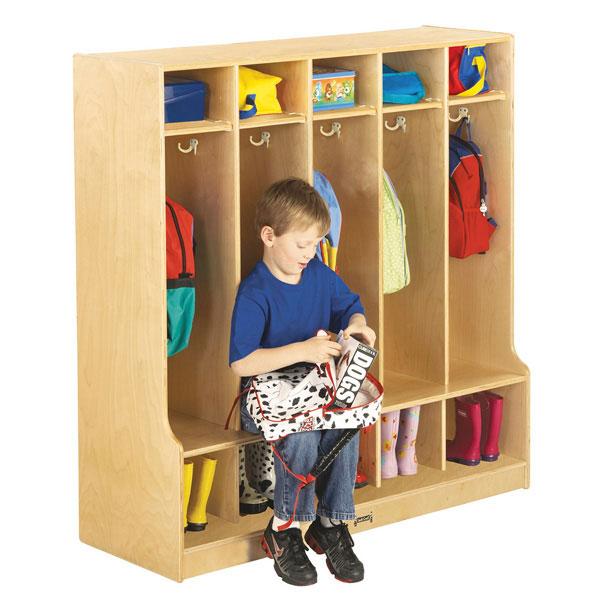Jonti-Craft 5 section coat locker with step