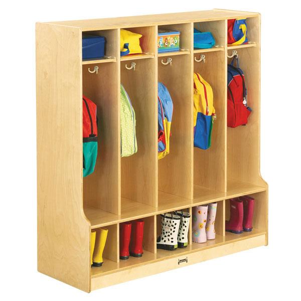 Jonti-Craft coat locker with step